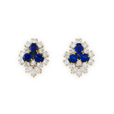 Brilliant & navette cut diamond and sapphire earrings