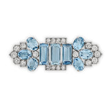 1940's Aquamarine and diamond brooch