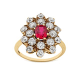 Natural Burma ruby and diamond cluster ring