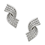 1980's diamond and platinum earclips