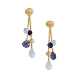 Paradise 18ct yellow gold, iolite and blue topaz earrings by Marco Bicego