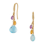 New Paradise 18ct yellow gold, diamond and multi gemstone earrings by Marco Bicego