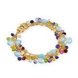 New Paradise 18ct yellow gold and multi gemstone three row bracelet by Marco Bicego