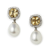 Mini Carnival citrine, diamond & pearl earrings by Nigel Milne