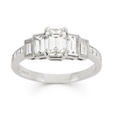 INTERMEZZO Emerald cut diamond five stone engagement ring