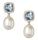 Mini Carnival blue topaz, diamond and pearl earrings by Nigel Milne