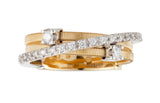 Goa three row diamond and yellow gold ring by Marco Bicego