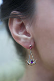 Joie de Vivre pink tourmaline and amethyst earrings by Nigel Milne