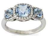 Mini Carnival blue topaz & diamond ring by Nigel Milne