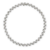 1960's brilliant cut diamond collet and scroll link necklace