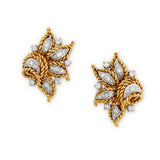 1970's 18ct yellow gold and diamond earclips