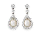 Brilliant cut diamond and pearl drop cluster earrings