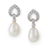 Brilliant cut diamond and drop pearl earrings