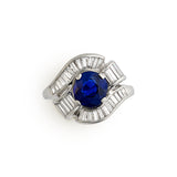 1950's Sapphire and baguette diamond ring