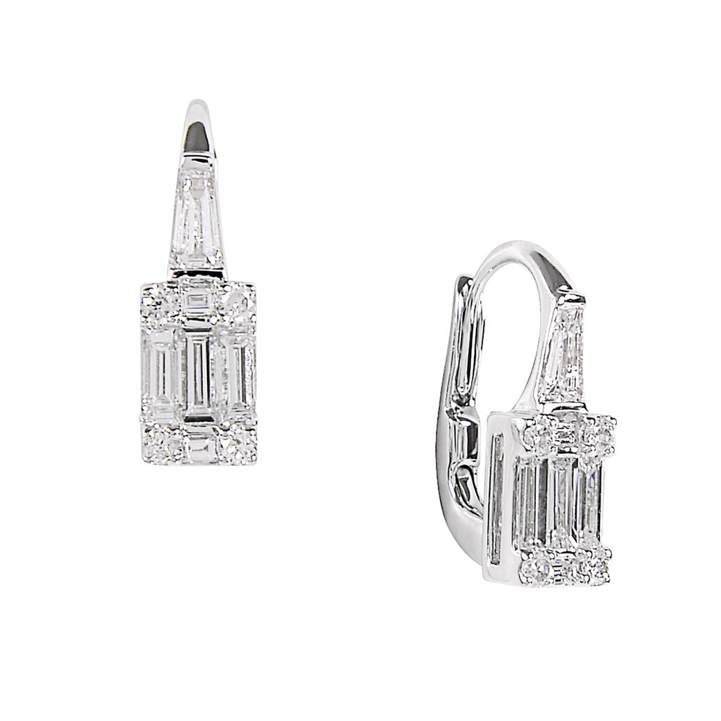 Brilliant and baguette cut diamond earrings for Nigel Milne