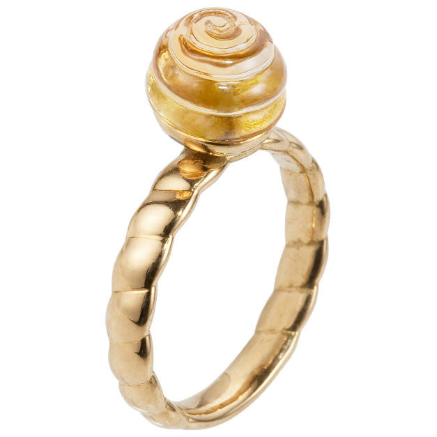 Cabaret citrine & yellow gold ring by Nigel Milne