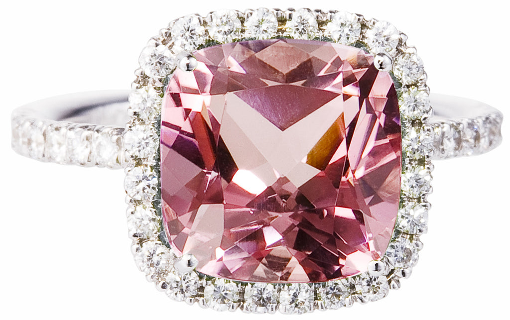 Carnival pink tourmaline & diamond ring by Nigel Milne
