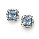Mini Carnival blue topaz & diamond earrings by Nigel Milne