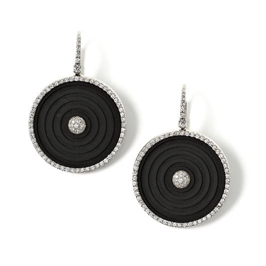 Pave set diamond and jet disc drop earrings