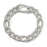 Pave set brilliant cut diamond curb link bracelet