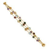 Jaipur mixed gemstone & yellow gold three row bracelet by Marco Bicego