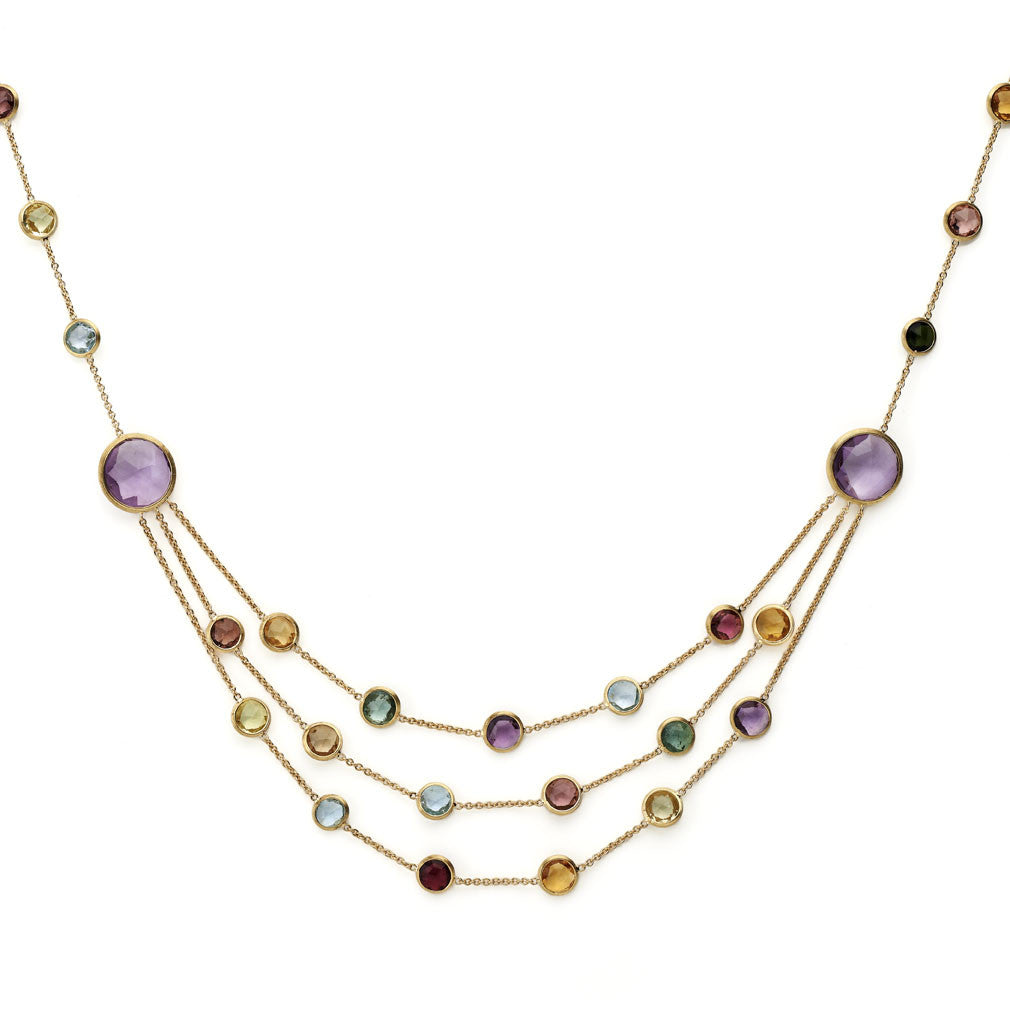 Jaipur mixed gemstone & yellow gold three row necklace by Marco Bicego
