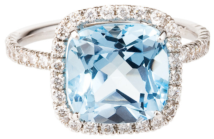 Carnival blue topaz & diamond ring by Nigel Milne
