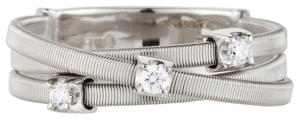 Goa three row diamond and white gold ring by Marco Bicego