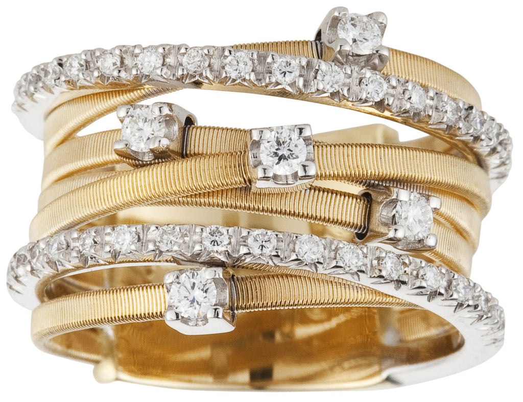 Goa seven row diamond and yellow gold ring by Marco Bicego
