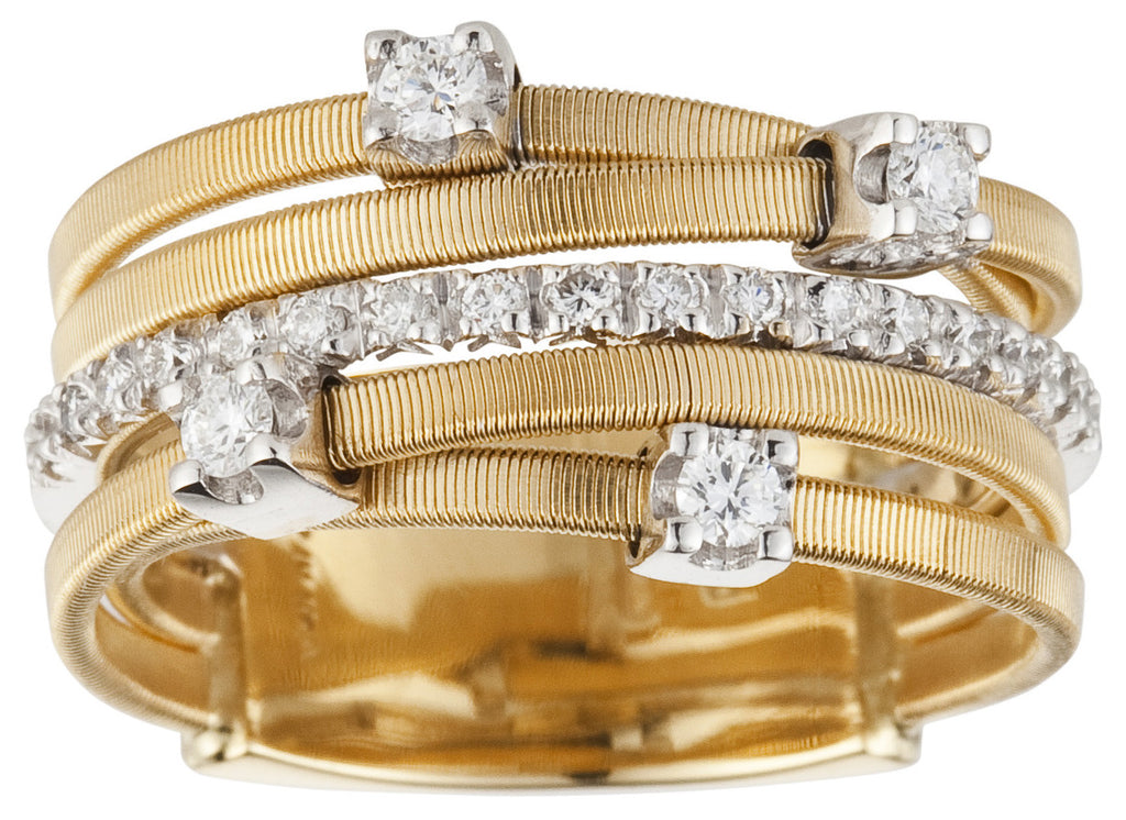 Goa five row diamond and yellow gold ring by Marco Bicego