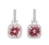 Carnival pink tourmaline & diamond earrings by Nigel Milne