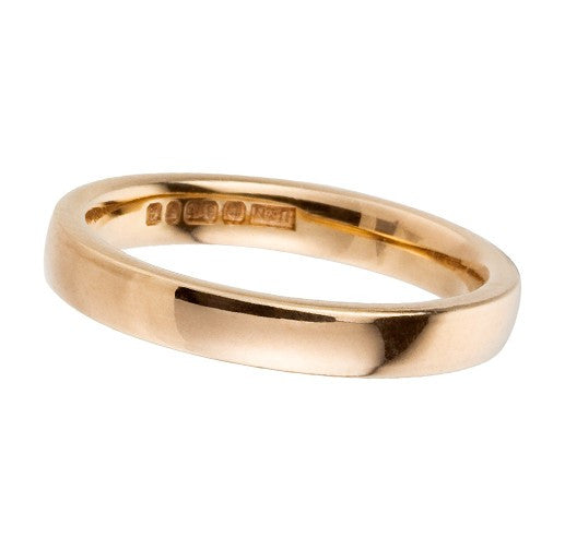 3mm 9 ct yellow gold wedding ring