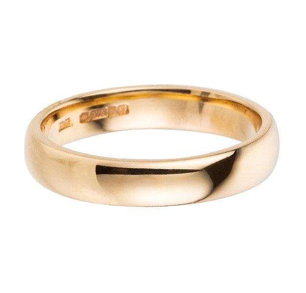4mm 9 ct yellow gold wedding ring