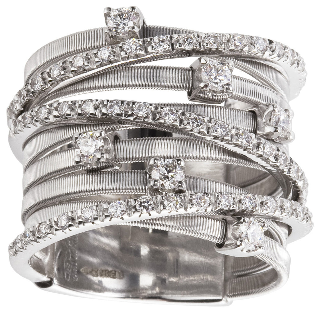 Goa nine row diamond and white gold ring by Marco Bicego