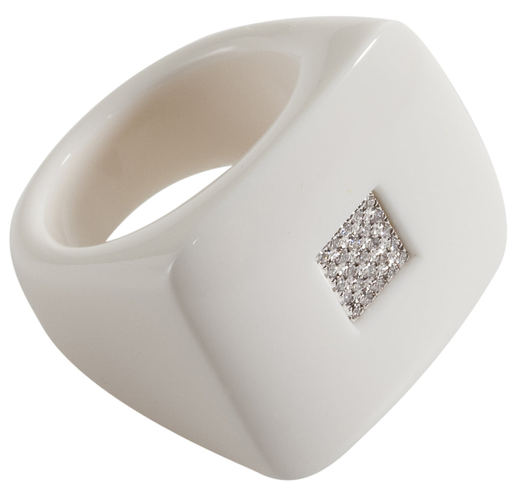 Diamond and polished white square ring