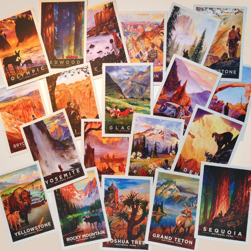National Parks: Kai Carpenter Illustrated 20-piece Postcard Set