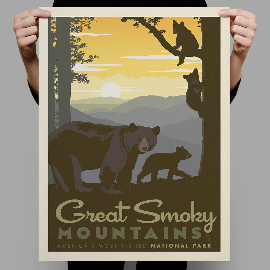 National Parks: Great Smoky Mountains-Mama Bear & Cubs (Best Seller)