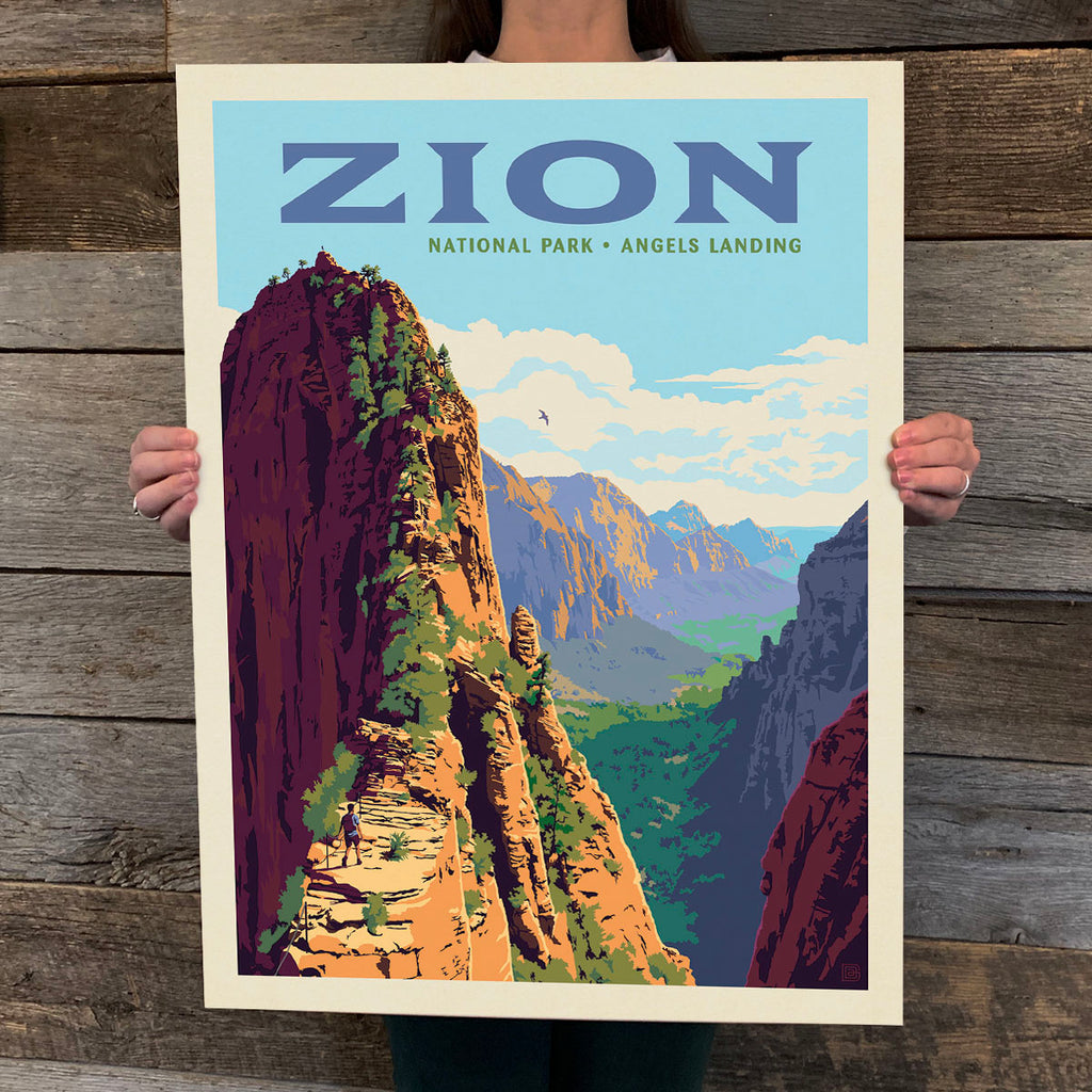 National Parks: Zion-Ascent to Angels Landing Print (Best Seller)