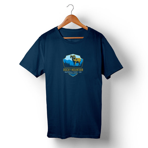 Rocky Mountain National Park on Unisex Navy Blue T-shirt