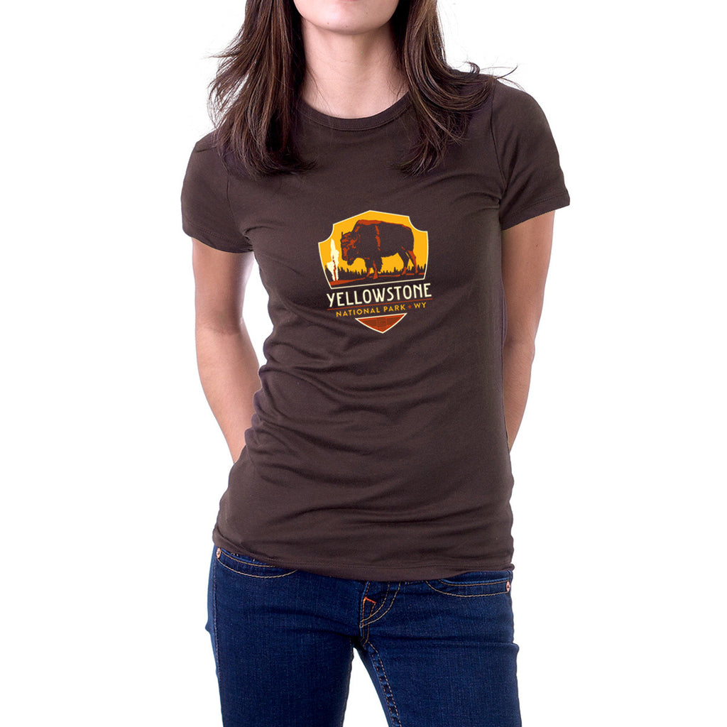 Yellowstone National Park on Unisex Brown T-shirt