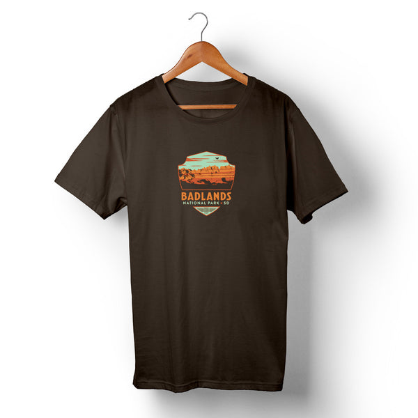 Badlands National Park on Unisex Brown T-shirt