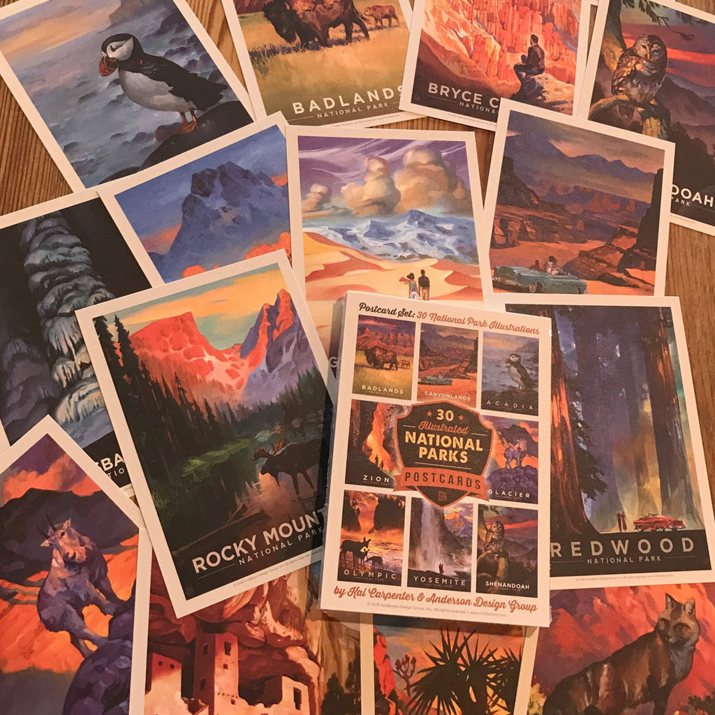 National Parks: Kai Carpenter Illustrated 30-piece Postcard Set