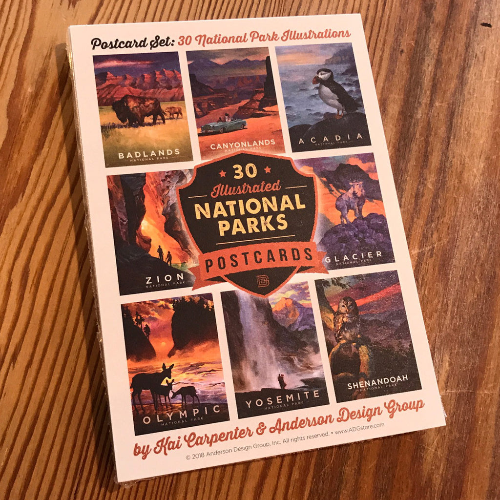POSTCARDS: Kai Carpenter Illustrated National Parks 30-piece Set