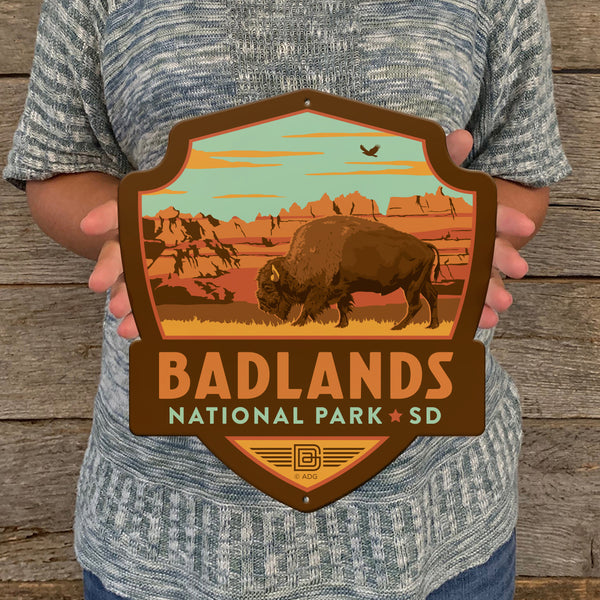 Metal Emblem Sign: NP Badlands National Park