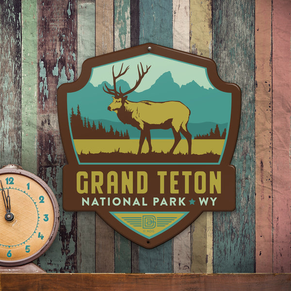 Metal Emblem Sign: NP Grand Teton National Park