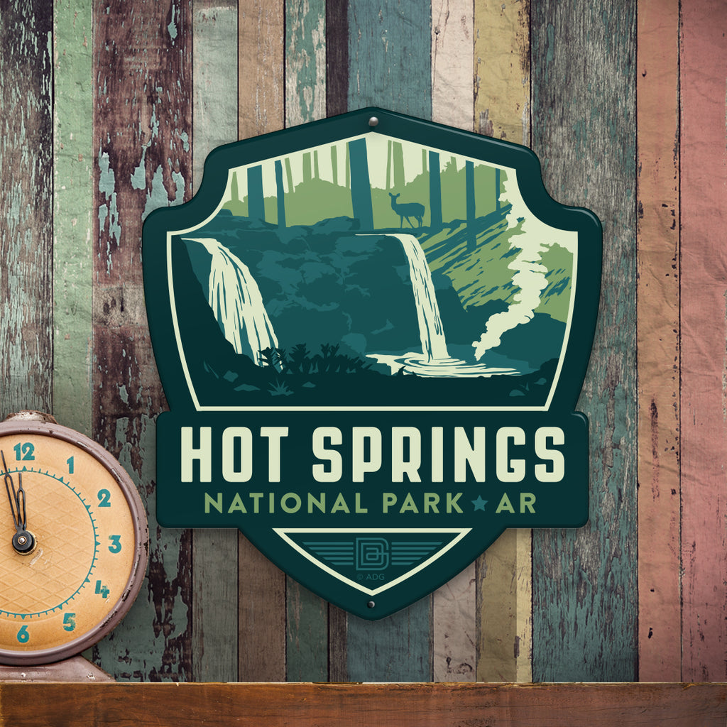 Metal Emblem Sign: NP Hot Springs National Park