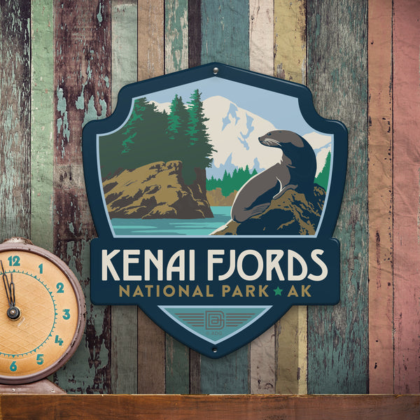 Metal Emblem Sign: NP Kenai Fjords National Park