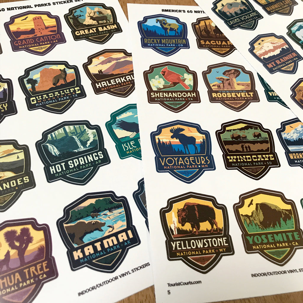 Shield 62 Stickers Vibrant Colors Vinyl Stickers 1.7x2.5 Collection Stickers Set National Parks USA Bonus Map of US National Parks.
