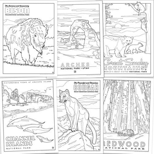 National Parks: 72-Page Coloring Book