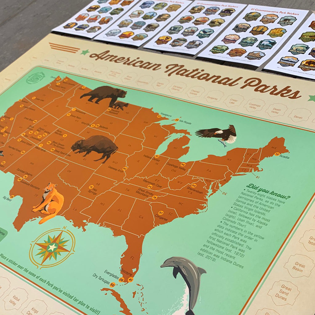 Sticker Map 61 National Parks Bargain 40 Off